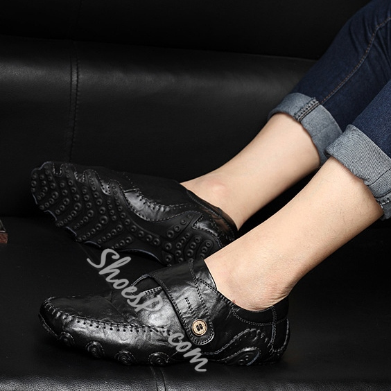 Solid Color Quilted Buckled Flats Loafers