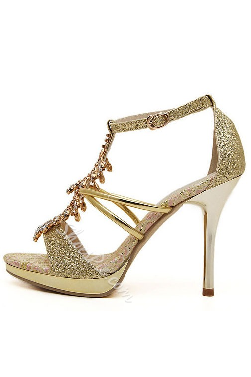 Rhinestone Decorated Ankle Strap Sandals