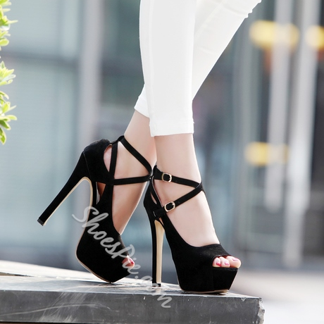 Black/Pink Fashion Shoes Sandals Sexy Fish Mouth Stiletto Sandals