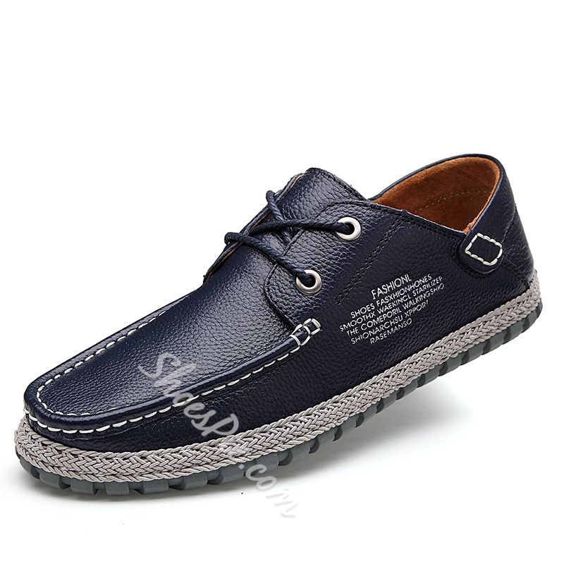 Letters Print Quilted Lace-Up Loafers