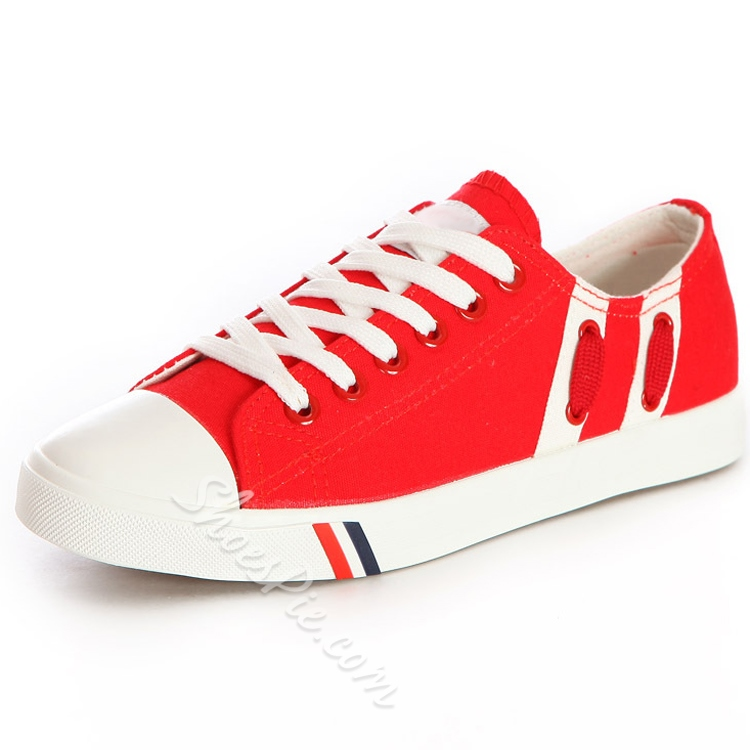 Solid Color Patchwork Lace-Up Canvas Shoes