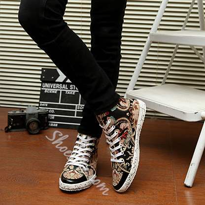 Print Lace-Up High-Cut Upper Men's Canvas Shoes