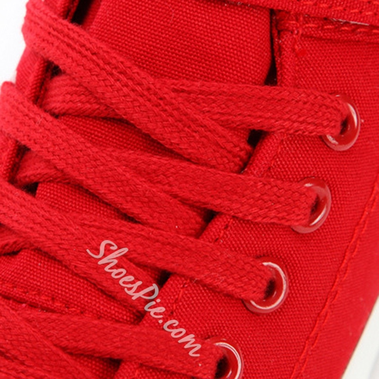 Solid Color Lace-Up Velcro Canvas Shoes