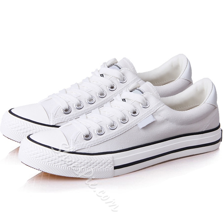 Shoespie Solid Color Lace-Up Decorated Canvas Shoes