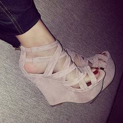 Shoespie Charming Solid Color Zipper Pink Wedge Sandals