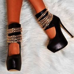 Shoespie Enticing Chains Decorated Platform Heels