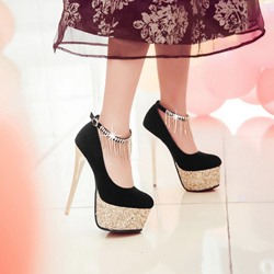 Sequin Tassels Decorated Ankle Strap Platform Pumps
