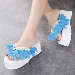 Flower Wedge Heel Slippers