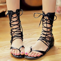 Unique Hollow-outs Lace-up Flat Sandals