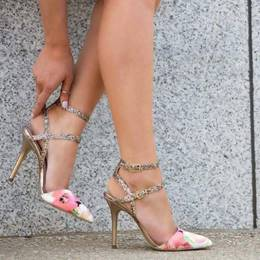 Shoespie Classic Sequined Point Toe Flower Print Stiletto Sandals