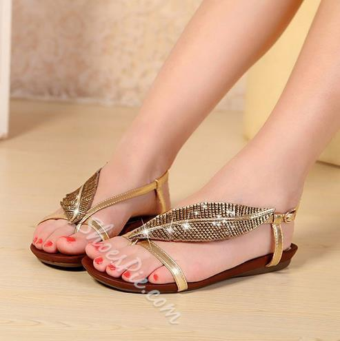 Charming Rhinestone Genuine Leather Thong Flat Sandals