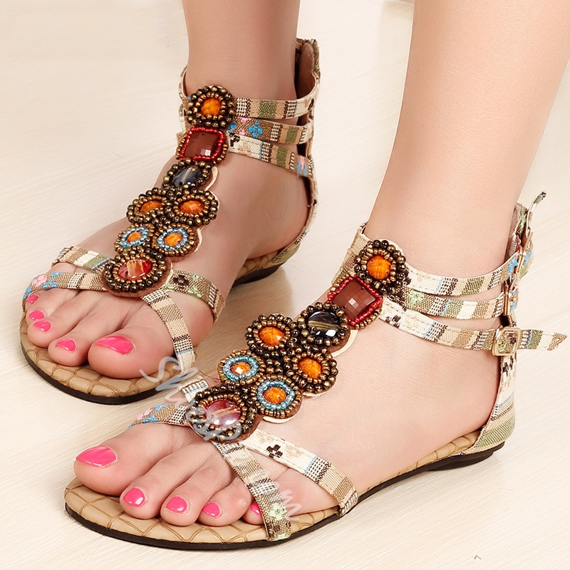 Bohemian Sweet Clip-toe Flat Sandals