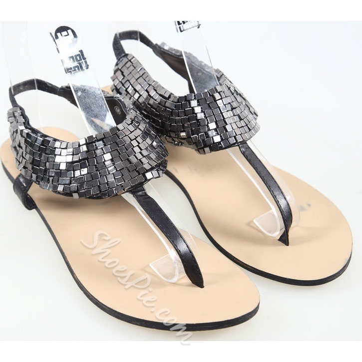 Metal Fashion Rome Thong Flat Sandals