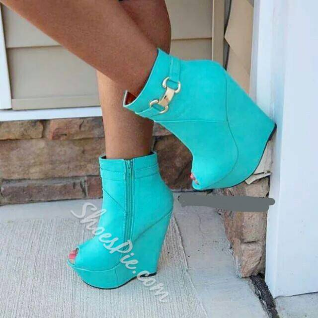 Shoespie Stylish Metal Decorated Peep-Toe Ankle Boots
