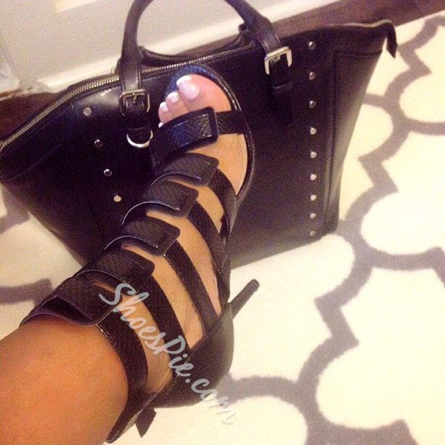 Glaring Buckle Decorated Plus Size Cut-out Stiletto Sandals