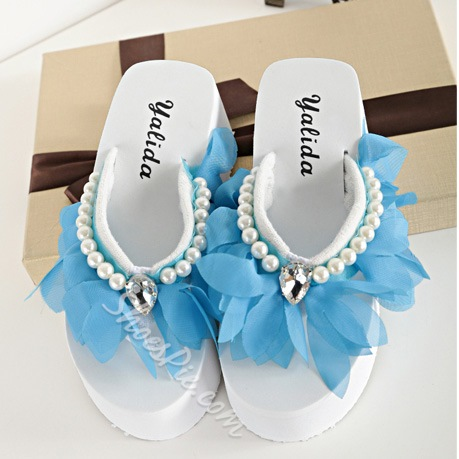 Sweety Flower Wedge Heel Slipper