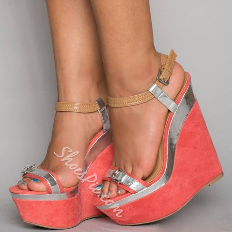 Shoespie Classic Suede Metal Decorated Orange Wedge Sandals