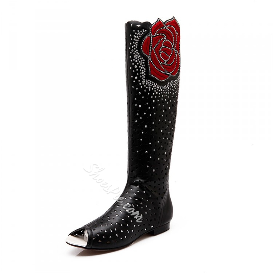 Floral Hollow Peep-Toe Knee High Boots