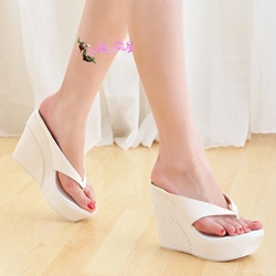 Delicate White Wedge Slippers