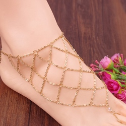 Golden Plaid Alloy Anklet