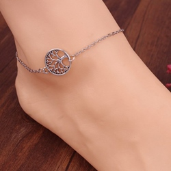 Geometric Decorated Alloy Anklet
