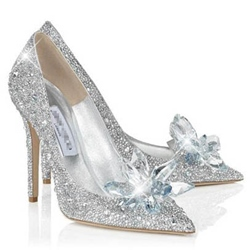 Glitter Silver Charming Point Toe Crystal Cinderella Wedding Shoes