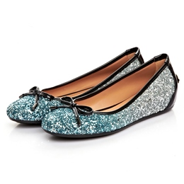 Sequin Studded Gradient Bowknot Flats