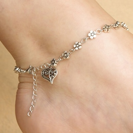 Silver Heart Shaped Alloy Anklet