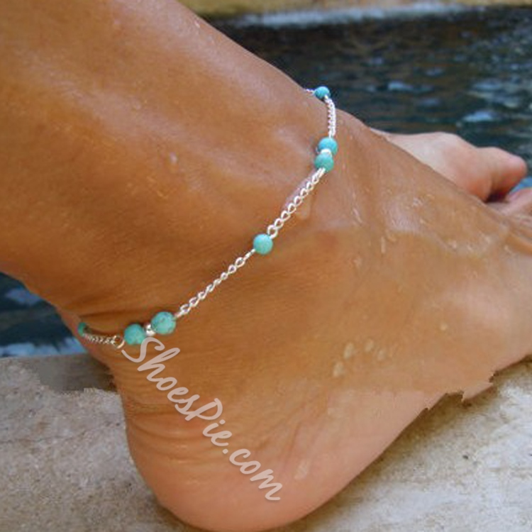 Color Block Alloy Anklets