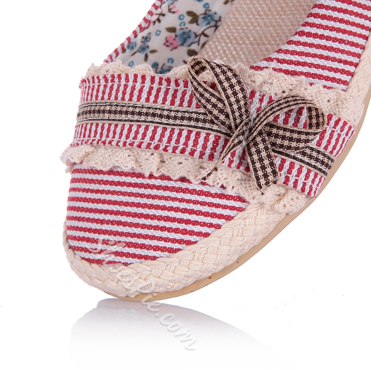 Bowknot Decorated Stripe Patchwork Flats