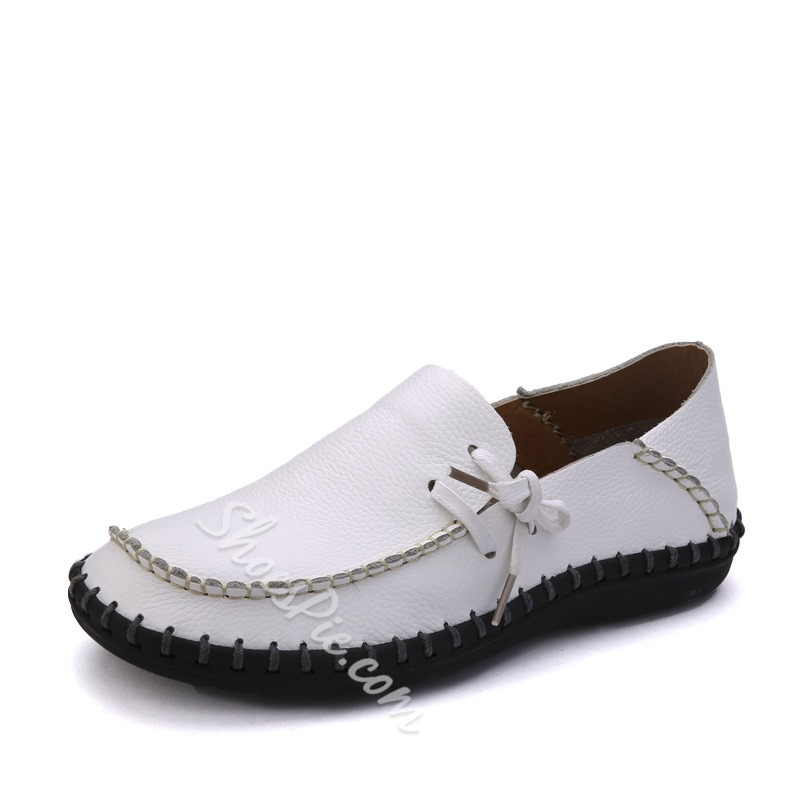 Side Lace-up Genuine Leather Loafer