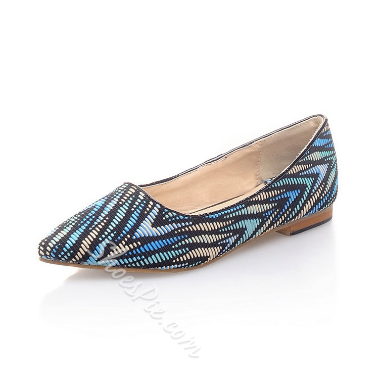 Unique Color Block Point Toe Flats