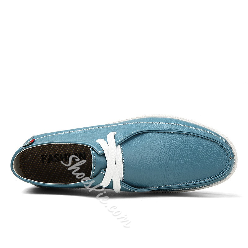 Pore Color Cow Leather Lace-up Sneaker