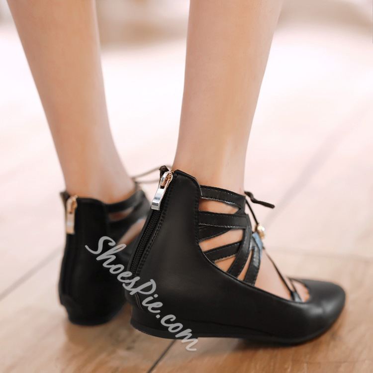 Strappy Pointed Toe Solid Color Flats