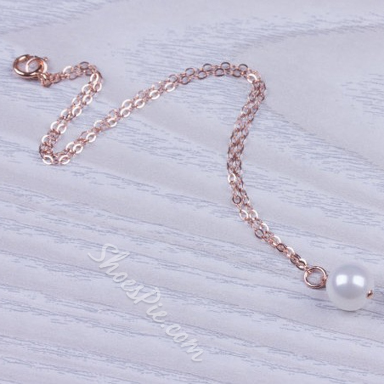 Golden Pearl Decorated Alloy Anklet