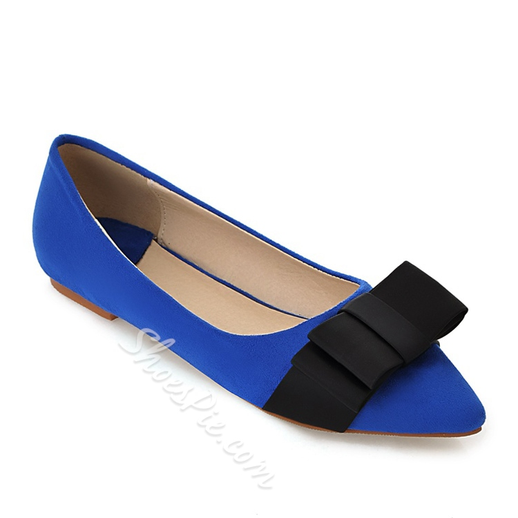 Sexy Bowtie Contrast Color Point Toe Flats