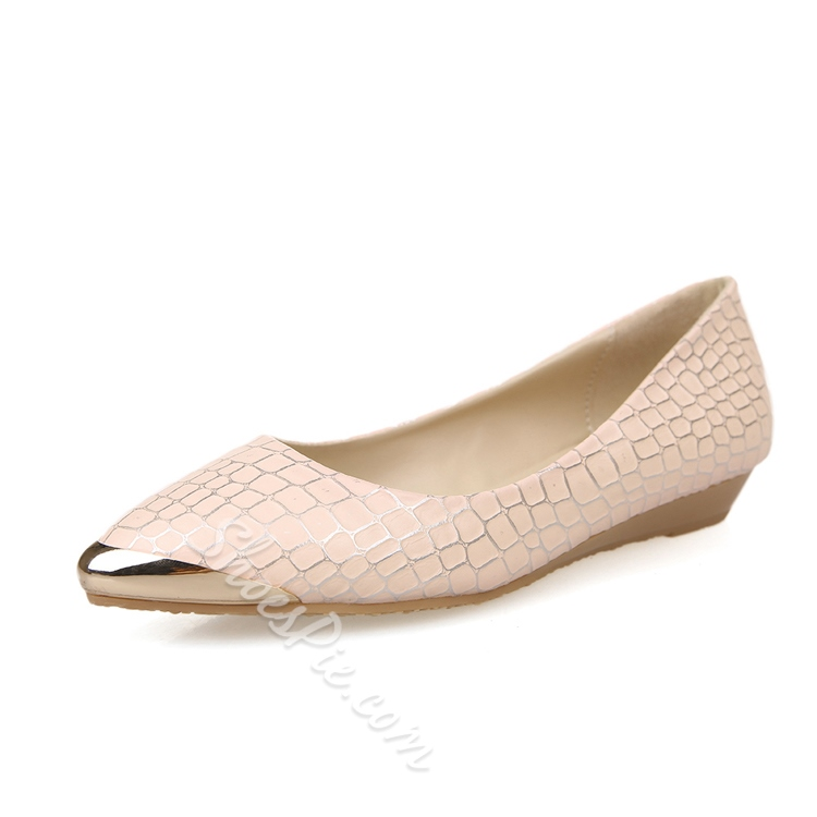 Metallic Embossed Pointed Toe Solid Color Flats