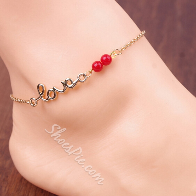 Solid Color Letter Shaped Alloy Anklet