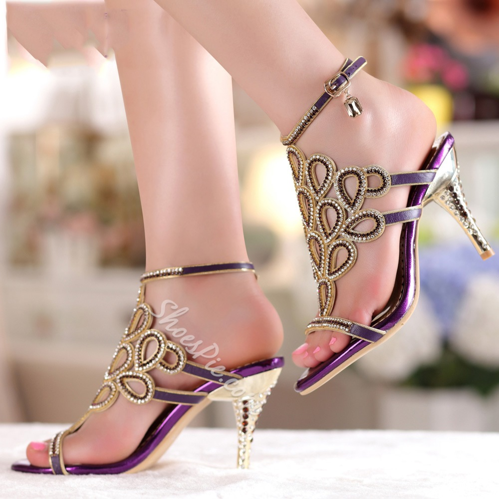 Shining Rhinestone Hollow-outs Stiletto Sandals