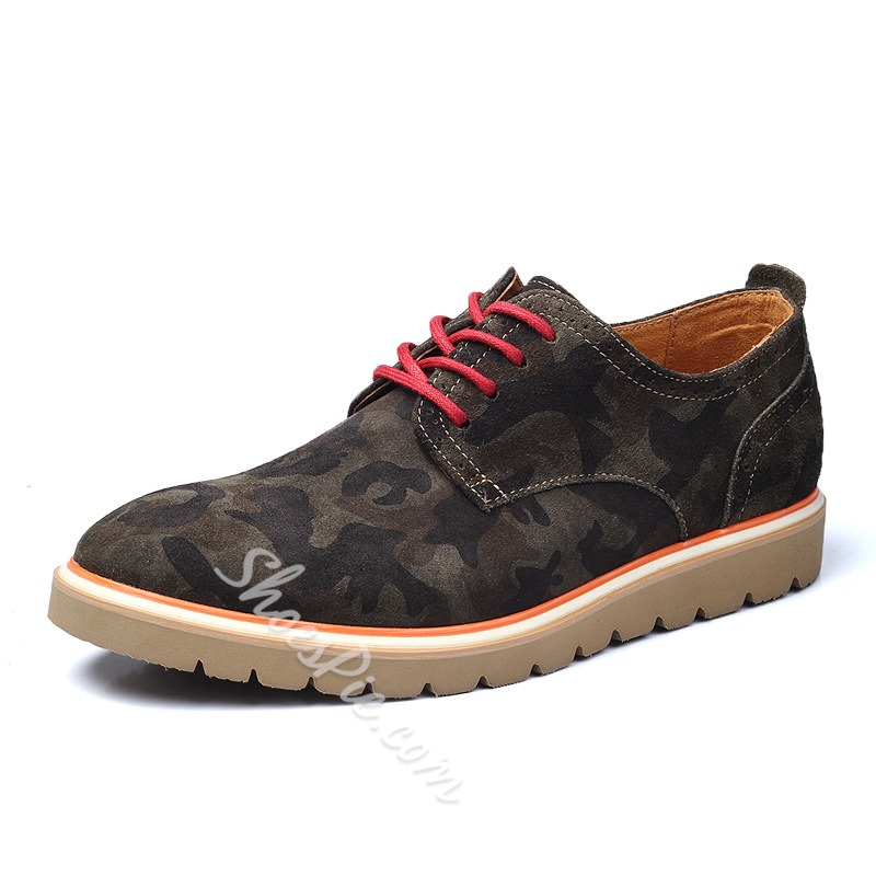 Fashion Camouflage Lace-up Oxford