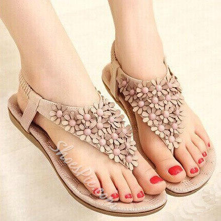 Bohemian Flower Decoration Clip-toe Flat Sandals