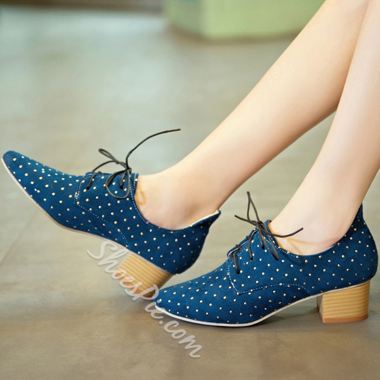 Colorful Wave Point Lace-up Flats