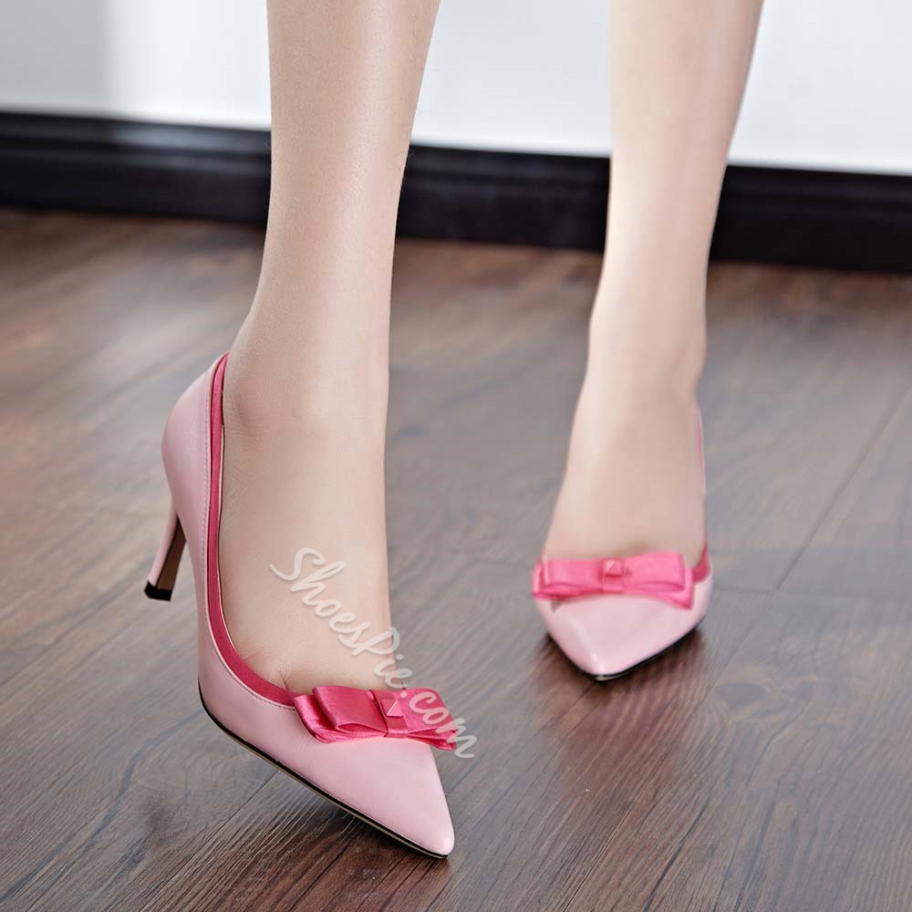 Bowknot Decorated Solid Color Low Heels
