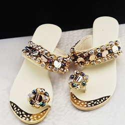 Beading Rhinestone Wedge Heel Women's Flat Slippers