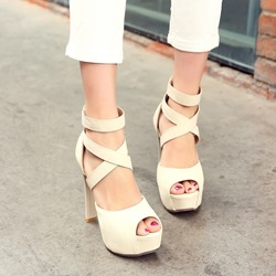 Sweet Cross Strap Decoration Back Zipper Platform Sandals
