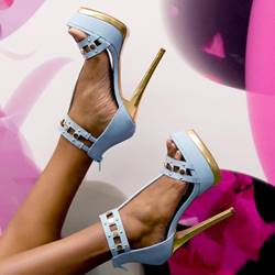 Shoespie Fashion Blue Rivet Metal Heel Platform Sandals