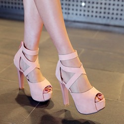 Sweet Cross Strap Decoration Back Zipper Platform Heels