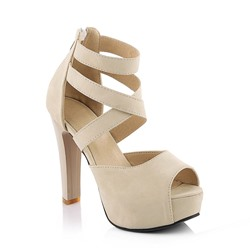 Cross Strap Platform Chunky Heel Sandals