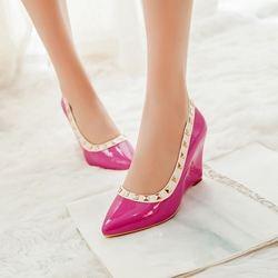 Comfortable Rivets Decorated Wedge Heels