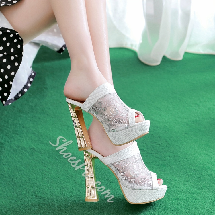Embroidery Patchwork Hollow Platform Sandals